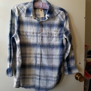 Lucky Brand Blue Plaid Long Sleeve Blouse Size M